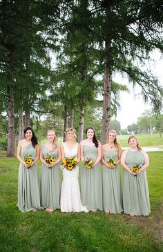sage green, long chiffon bridesmaid dresses--Photo from Michael + Taryn Wedding collection by Allison Hopperstad Photography