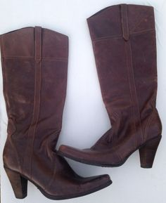 STEVE MADDEN Speciall Women's SZ 10 Tall Brown Leather Distressed Boots #Cowboy  #SteveMadden #boots #Casual