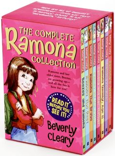 The Complete Ramona Collection by Beverly Cleary. I absolutely loved Ramona as a young girl growing up. To this day, my false name is always Ramona and my girl cat Ralphie was named before finding out she was a girl, so now she is Ralphie Ramona! I Love Books, Great Books, Books To Read, My Books, Ramona Books, Ramona Quimby, Beverly Cleary, Realistic Fiction, Award Winning Books
