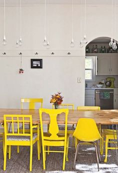 Mismatched chairs painted yellow for the dining room! Mismatched chairs painted yellow for the dining room! Dining Room Walls, Dining Area, Living Room, Dinning Chairs, Chairs For Dining Table, Eclectic Dining Chairs, Kitchen Paint, Kitchen Dining, Kitchen Decor