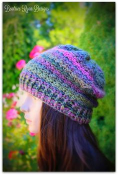 Winter Walk is a crochet beanie made from self-striping yarn, and we're obsessed with the colors!