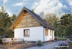 Projekt domu Ziarko - malutki domek, z możliwością adaptacji poddasza w II etapie budowy beton komórkowy - Archeton.pl Home Fashion, Exterior, Outdoor Structures, Cabin, House Styles, Home Decor, Projects, Decoration Home, Room Decor