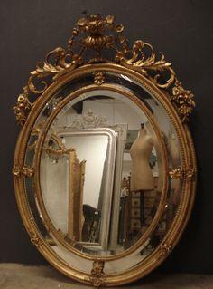 Large 19th century gilt crested oval margin mirror from www.jasperjacks.com