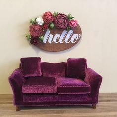 """Dollhouse Miniature Wooden Floral """"Hello"""" Wall Hanging 1:12 Scale by MiniFunTimes on Etsy"""