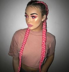 Boxer Braids Hairstyles, Braided Hairstyles, Rave Hair, Coiffure Hair, Pink Ombre Hair, Braid In Hair Extensions, French Braids With Extensions, Feed In Braid, Pretty Hairstyles