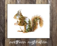 Red Squirrel Print - Woodland Animals Nursery Decor - Double Exposure Art - Forest Friends Rustic Nursery Wall Decor - Cabin Canadian Seller by NorthernRustication on Etsy https://www.etsy.com/listing/251338418/red-squirrel-print-woodland-animals