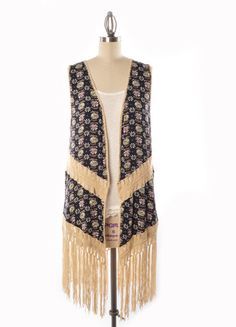 Boho Crochet & Fringe Vest (Black Multi) – DejaVu