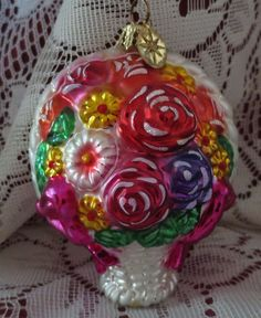MAY BASKET ORNAMENT Mother's Day Edition RADKO Beautiful Basket of Flowers