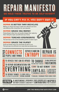 Repair Manifesto: if you can't fix it, you don't own it. #sustainableliving