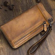 58fe069e1331 Handmade Mens Cool Long Leather Chain Wallet Cards Biker Trucker Wrist –  iChainWallets Wristlet Wallet