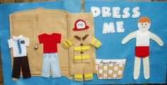 """Dress Me"" page. Love the laundry basket detail! Would be great to have outfits to match family's professions: carpenter for dad, fireman for grandpa, etc."
