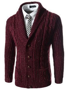 (FFC17-WINE) Slim Fit Shawl Collar 5 Button Knitted Cardigan