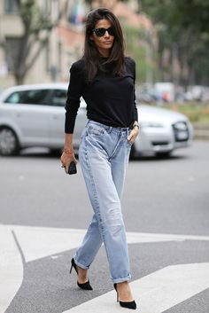 Black stilettos and mum jeans are an easy win.