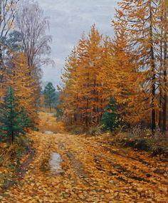 Valerij Surkov - Brusilov Stanislav (b. Paintings I Love, Beautiful Paintings, Pictures To Paint, Art Pictures, Watercolor Trees, Autumn Art, Landscape Paintings, Modern Art, Scenery