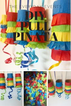 Cute DIY pull pinatas, made from toilet paper rolls! Fill with candy or little trinkets. Pulling the ribbon makes them open. Perfect for cinco de mayo or any party for the kiddos! Diy Piñata, Fun Diy, Kids Crafts, Petite Section, Mexican Party, Mexican Pinata, Thinking Day, Fiesta Party, Partys