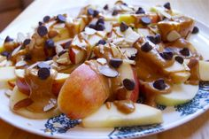 Apple Nachos with melted peanut butter or carmel and some chocolate chips!