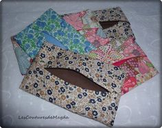 tuto-pochette-mouchoirs16 Diy Sewing Projects, Sewing Projects For Beginners, Sewing Diy, Tissue Box Covers, Tissue Boxes, Diy Pochette, Sewing Online, Blog Couture, Old Sewing Machines