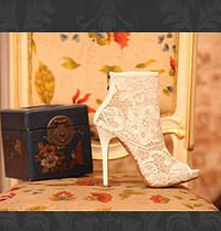 White Lace ankle boots