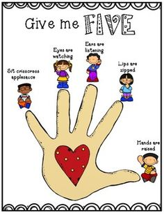 Give me FIVE poster pendidikan Classroom & Circle Time Management Preschool Classroom Rules, Preschool Social Skills, Senses Preschool, Classroom Rules Poster, Preschool Learning Activities, Classroom Behavior, Classroom Management, Teaching Kids, Kids Learning