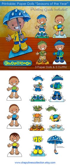 60% off Paper Dolls - Printable - Seasons of the Year - Boys - Full Color - Set 024