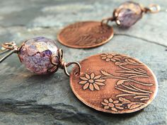 Lavender Flower Earrings, Etched Jewelry, Spring Summer Earrings, Boho, Lilac, Purple, Orchid, Flower Garden, Etched Metal, Floral Design