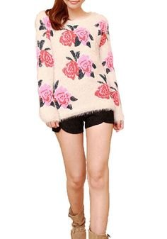 Apricot Rose Print Round Neck Synthetic Fiber Sweater