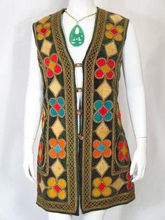 Vintage BOHO Velvet Ethnic Long Tunic Afghan * #Tunic