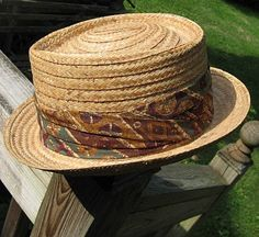 Vintage 50s Fedora Hat Mens Golden Straw with by BettesBargains, $41.00