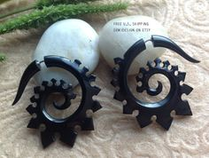 Fake Gauge Earrings Spiked Spirals Naturally Organic by DewiDesign