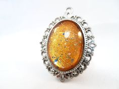 Gold Glitter Nail Polish Necklace - 'Lost Treaure' Handmade Sparkly Silver-plated Yellow Shimmer Nail Varnish Pendant Jewelry
