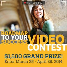The Roadmap To Your Success Video Contest is offered annually. Students submit a 2 minute video describing how their college or university has helped them succeed.