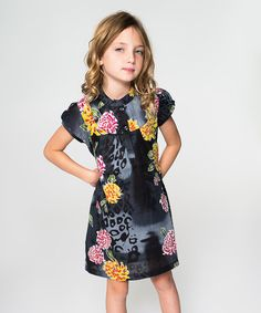 Another great find on #zulily! Black & Yellow Floral Shift Dress - Toddler & Girls #zulilyfinds