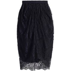 Zimmermann Rhythm Lace Tuck Skirt ($795) ❤ liked on Polyvore featuring skirts, lacy skirt, scalloped lace skirt, knee length lace skirt, zimmermann and blue skirt