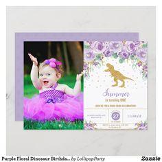 Purple Floral Dinosaur Birthday Girl T-Rex Photo Invitation Girl Dinosaur Birthday, Llama Birthday, Girl First Birthday, Dinosaur Party, First Birthday Parties, First Birthdays, Photo Invitations, Custom Invitations, Dinosaur Birthday Invitations