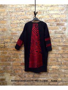 Abito Ovetto, stampa etno-chic colore rosso e nero