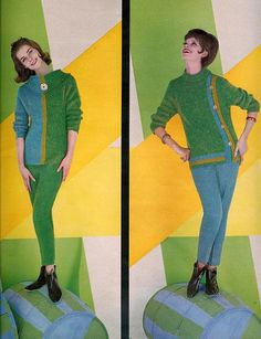 From Seventeen, September 1961 vintage fashion style color photo print ad model magazine 60s pants pencil sweaters mod green blue twiggy