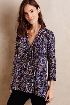 Tie-Neck Swing Blouse - anthropologie.com