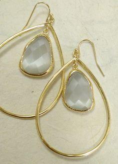 Platinum Earrings, Drop Earrings, Stone Jewelry, Wire Jewelry, Jewelry Box, Simple Jewelry, Simple Earrings, Jewelry Accessories, Jewelry Design