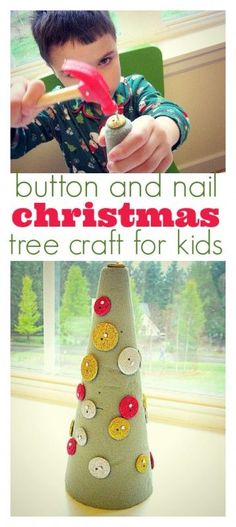 Christmas craft and fine motor activity. Fun hammering activity with a Christmas spin.