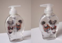 Floating kids in liquid soap bottle!   Thought: Family pics, any pic (for an adult bathroom- people/things), individual bathroom- their own soap jar?