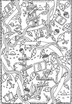 """Trail Signs"" doodle by Lee Ann Fraser 2016 Owl & Toadstool: Girl Guides and Scout Doodles"