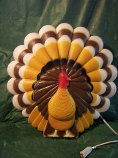Vtg. Union Don Featherstone Thanksgiving Turkey Blowmold Yard Light