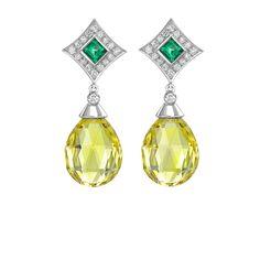 Yellow Beryl & Emeralds Drop Earrings