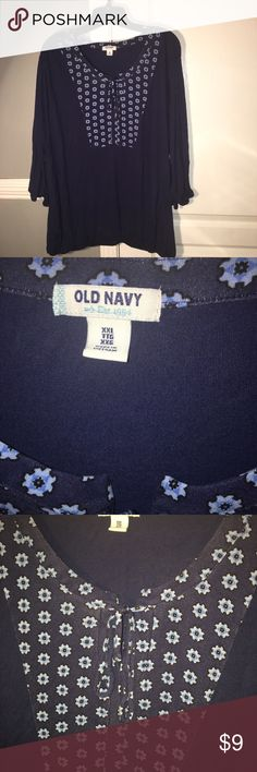 Plus size navy top Floral design lapel with keyhole tie closure. 3/4 length sleeves with elastic cuff and hem. Dress it up or dress it down. Old Navy. Size XXL. Old Navy Tops