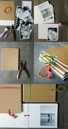 photo album with paper, cardboard, elastic and hole punch!