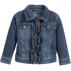 Mayoral Girls Blue Denim Jacket with Ruffles at Childrensalon.com