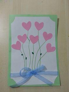 Přáníčko se srdíčky Diy Paper, Birthday Cards, Crafts For Kids, Card Making, Bouquet, Greeting Cards, How To Make, Inspiration, Mother's Day