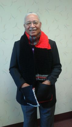 Men's scarf with leather pockets. Sherrissima Designs. Exclusively at Sherrissimadesigns@gmail.com