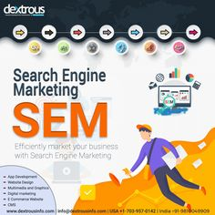 Dextrous offers you the best Search Engine Marketing Services to take your business to the next level. We help you get top positions on search engines with our comprehensive SEM packages. Search Engine Marketing, Seo Marketing, Digital Marketing Services, Seo Services, Business Marketing, Online Marketing, Landing Page Optimization, Business Requirements, App Development