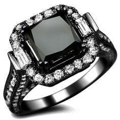 4.50ct Black Princess Cut Diamond Engagement Ring 18k Black Gold / Front Jewelers
